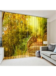The Bridge Covered with Fallen Leaves Print 3D Blackout Curtain
