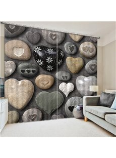 Lovely Heart-Shaped Stones Print 3D Blackout Curtain
