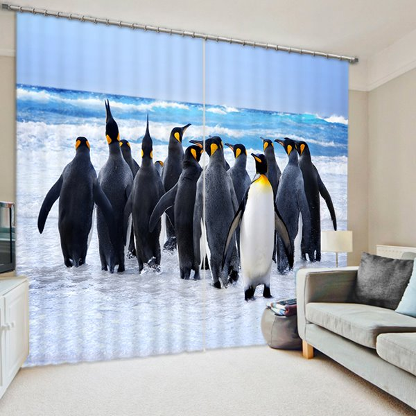 A Group of Cute Penguin Walking Print 3D Blackout Curtain