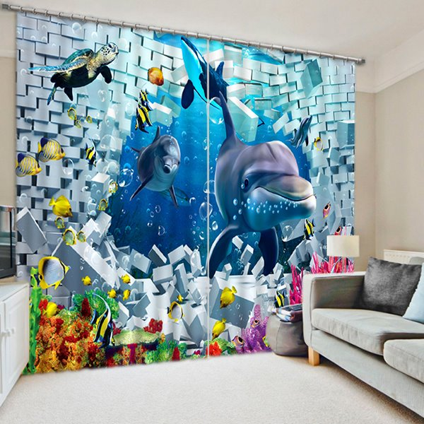 Vivid Great Dolphins Swimming Print 3D Blackout Curtain