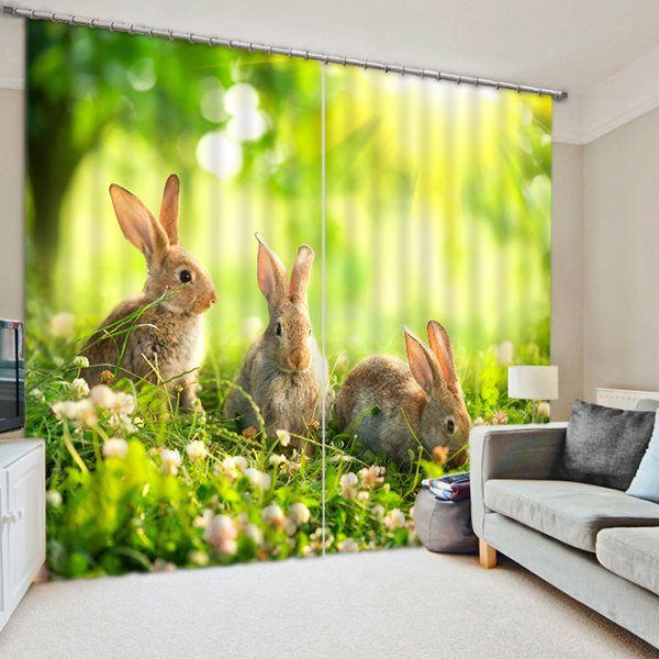 Three Cute Rabbits Playing on the Grassland Print 3D Blackout Curtain