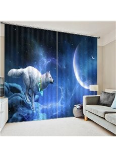 The White Wolf Chasing the Moon Printing 3D Curtain