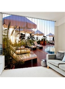 Casual Afternoon Time In the Swimming Pool Print 3D Blackout Curtain