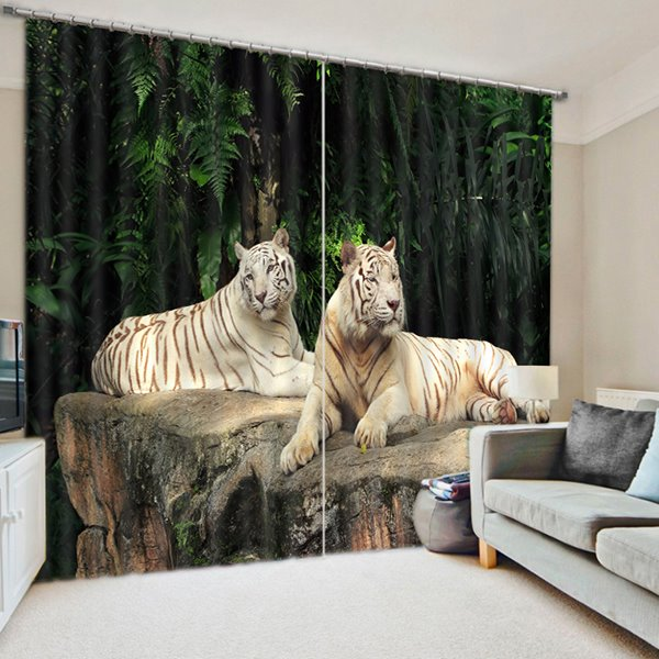 3D Double Tigers Lying down on the Stone Printed Decoration Curtain Roller Shade