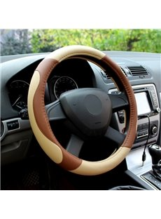 Classic Business Contrast Color Design PU Leatherette Car Steering Wheel Cover