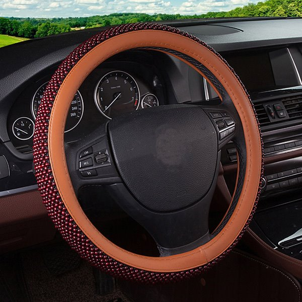 Large Friction Gloden Color And Wood Beads Material Steering Wheel Covers