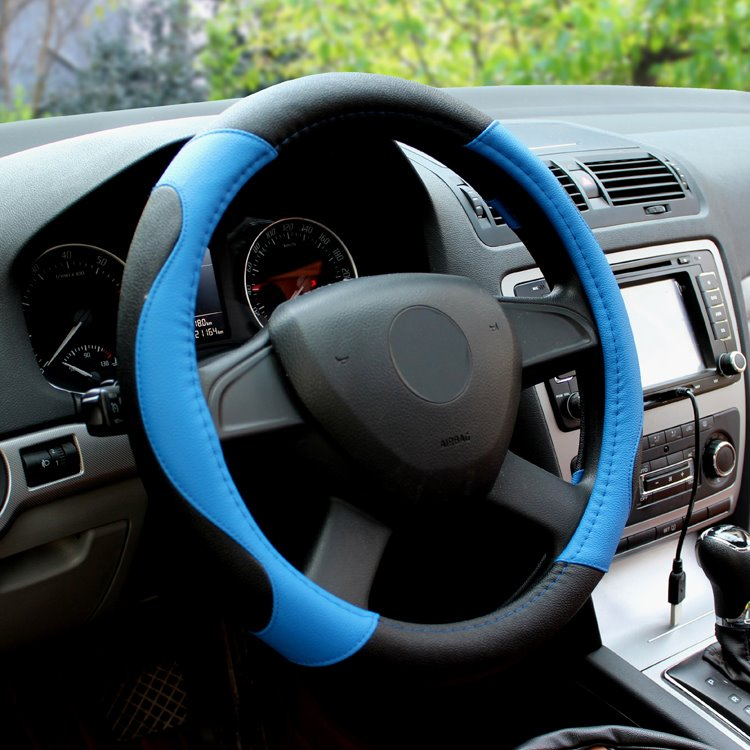 Black And Blue Classic Color Matched Business Car Steering Wheel Cover
