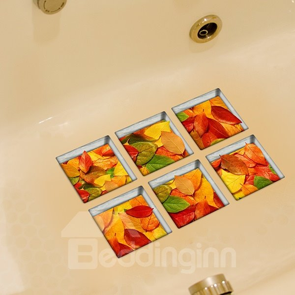Wonderful Fallen Leaves Pattern 3D Bathtub Stickers