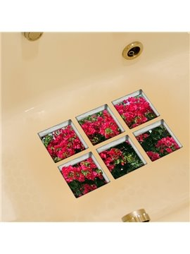 Beautiful Flowers Pattern 3D Bathtub Stickers for Room Decoration