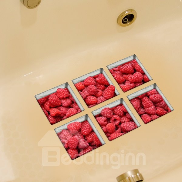 Hot Sale Raspberry Pattern 3D Bathtub Stickers
