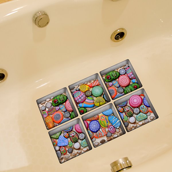 Creative Animal Pattern Stone 3D Bathtub Stickers