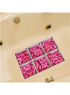 Hot Sale Beautiful Pink Roses 3D Bathtub Stickers For Bathroom