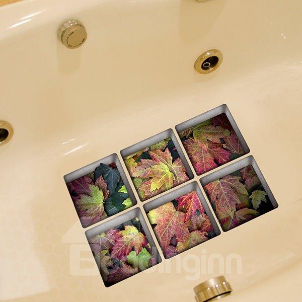 Beautiful Colorful Fallen Leaves 3D Bathtub Stickers