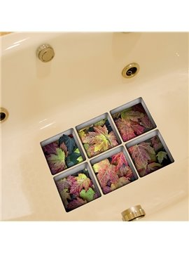 Beautiful Colorful Fallen Leaves 3D Bathtub Stickers