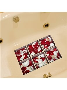 Beautiful Flower Red and White Petal 3D Bathtub Stickers