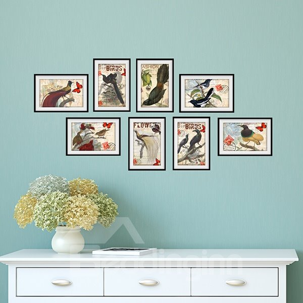Hot Sale Vivid Birds 3D Wall Art Prints for Room Decoration