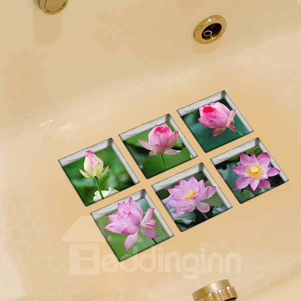 Hot Sale Amazing Lotus 3D Bathtub Stickers