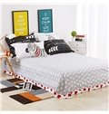 Cute Heart Shape and Black-and-white Stripe Cotton 4-Piece Duvet Cover Sets