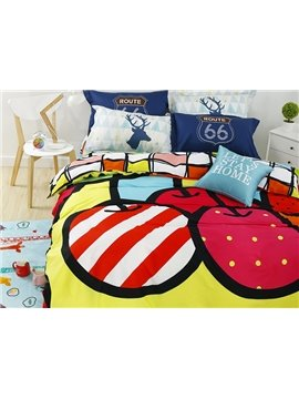Bright Delicious Fruit 4-Piece Active Print Cotton Bedding Sets