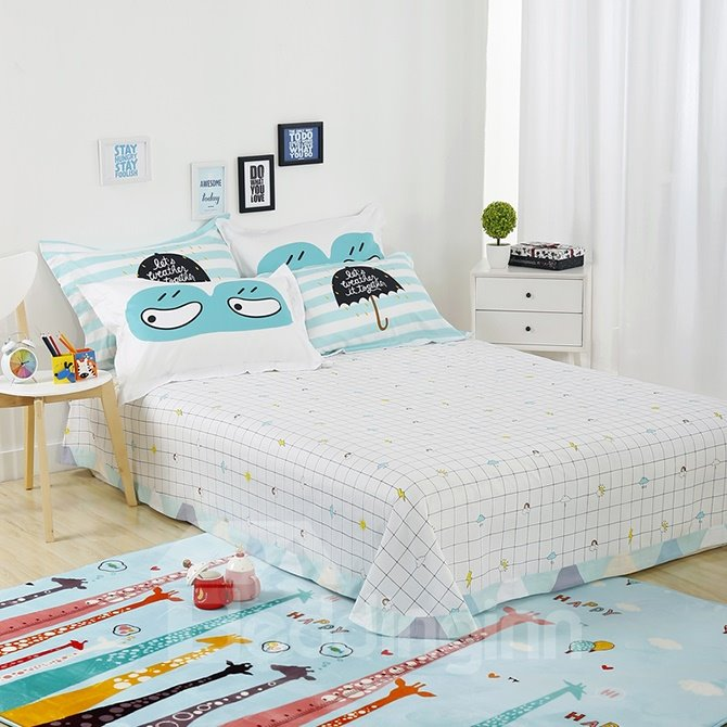 Big Panda Printed Cotton 4-Piece Black and White Duvet Covers/Bedding Sets