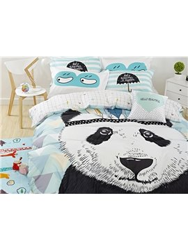 New Arrival Popular Panda Print Cotton 4-Piece Duvet Cover Sets