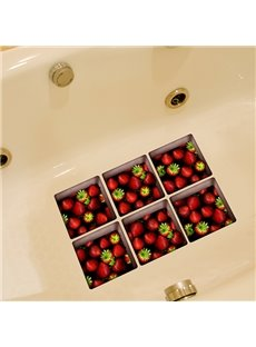 Hot sale Wonderful Strawberry Pattern 3D Bathtub Stickers