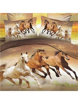 Fancy 3D Running Horse Print Polyester Fitted Sheet