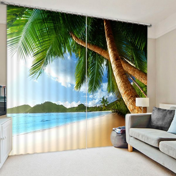 3d Lush Coconut Trees Beach Printed Natural Living Room Curtain Pic