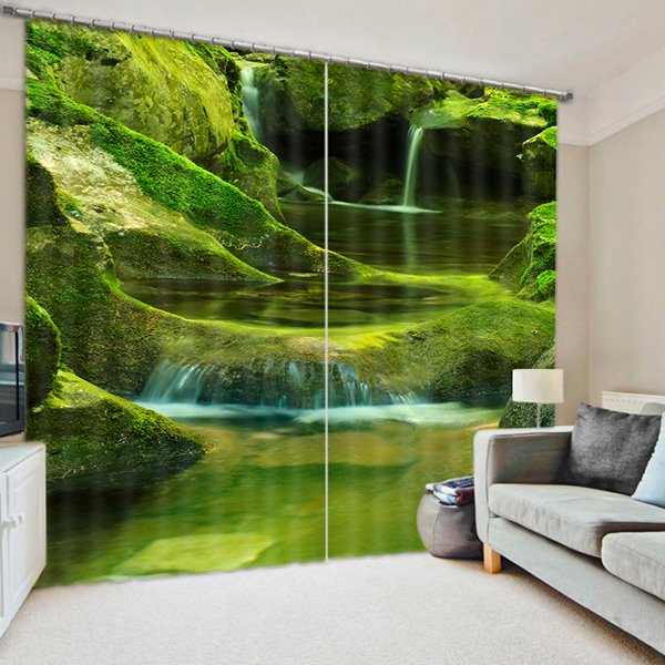 Amazing Green Mountains and Flowing River Printed 3D Blackout Curtain