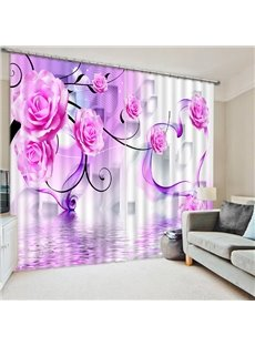 Blooming Purple Champagne Roses Print 3D Blackout Curtain