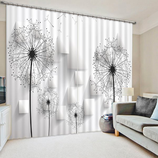 3d Dandelions Printed Pastoral White Black Curtain Living Room Pic