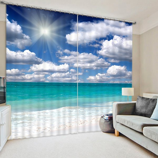 Beach Window Curtains Part - 23: 3D Printed Beach With White Clouds And Sunlight Beautiful Seaside Scenery  Room Curtain