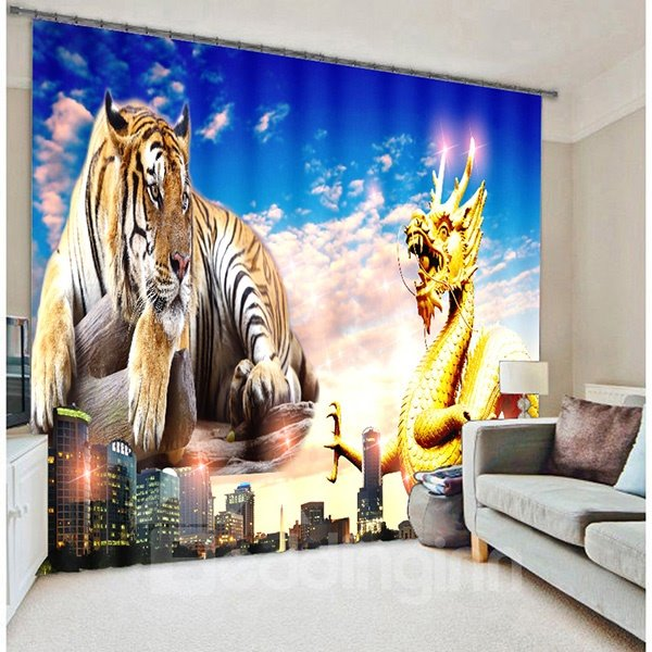 3D Creative Dragon and Tiger Printed Animal Scenery with Tall Buildings Blackout Curtain