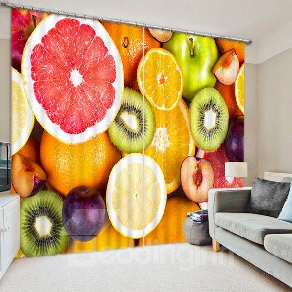 Colorful Various Fruits Print 3D Blackout Curtain