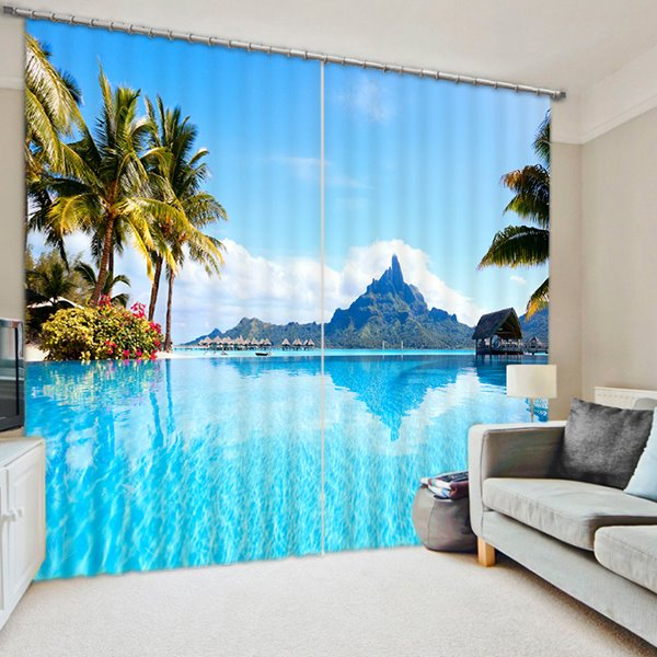 Wonderful Blue Sea and Coconut Trees Printing 2 Panels 3D Blackout Curtain