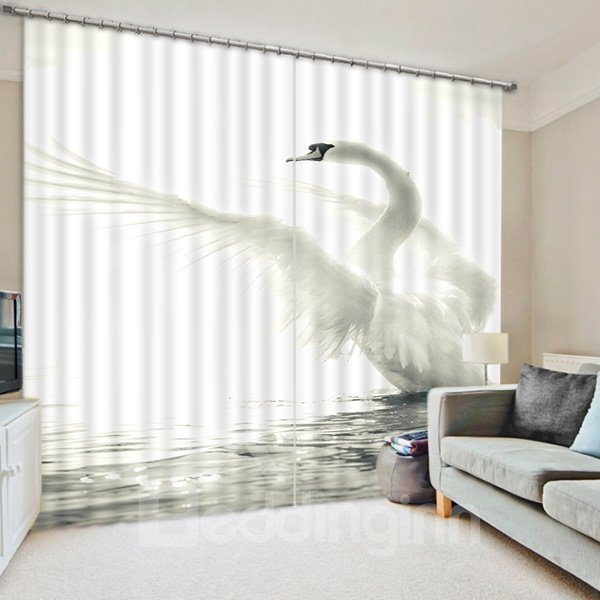 3D White Swan Printed Thick Polyester Decorative and Blackout 2 Panels Curtain