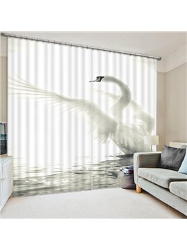 The spreading White Swan Print 3D Blackout Curtain