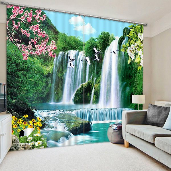 3d Flowing Water White Cranes And Beautiful Sunflowers