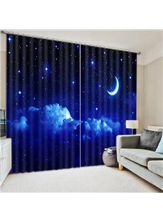 Beautiful Night Sky with Moon and Stars Printing 3D Curtain