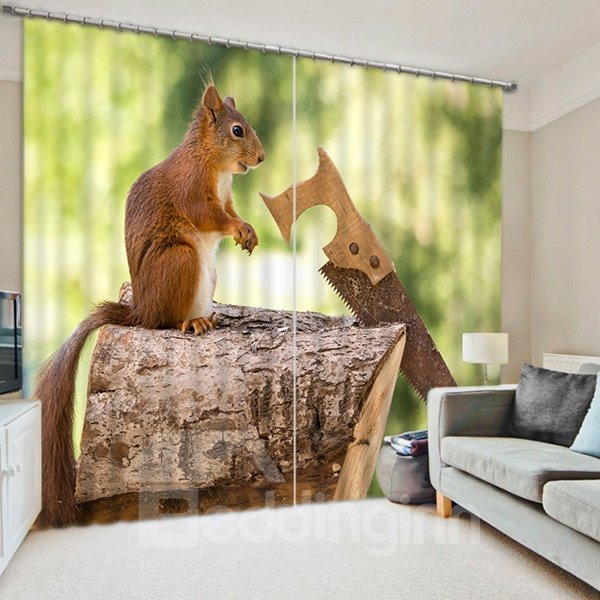 3D Funny Squirrel Sawing Wood Printed Decorative and Blackout Thick Polyester Curtain