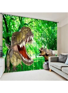 High-Quality Fiercely Dinosaurs Print 3D Blackout Curtain