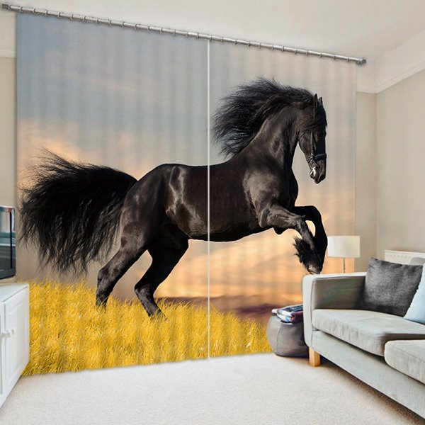 3D Running Black Horse Printed Wonderful Scenery 2 Panels Decorative Custom Curtain