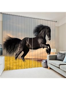A Running Black Horse Print 3D Blackout Curtain