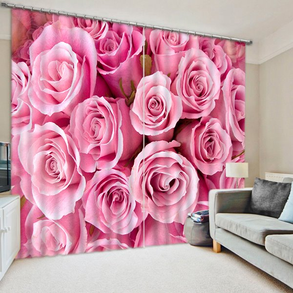 Trendy Pink Roses Printed Thick PolyesterCustom 3D Blackout Curtain
