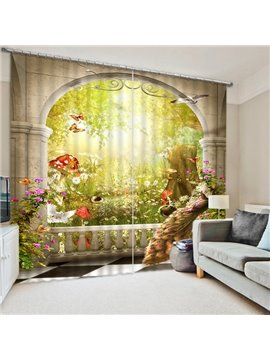 A Peacock and Magic Garden Print 3D Blackout Curtain