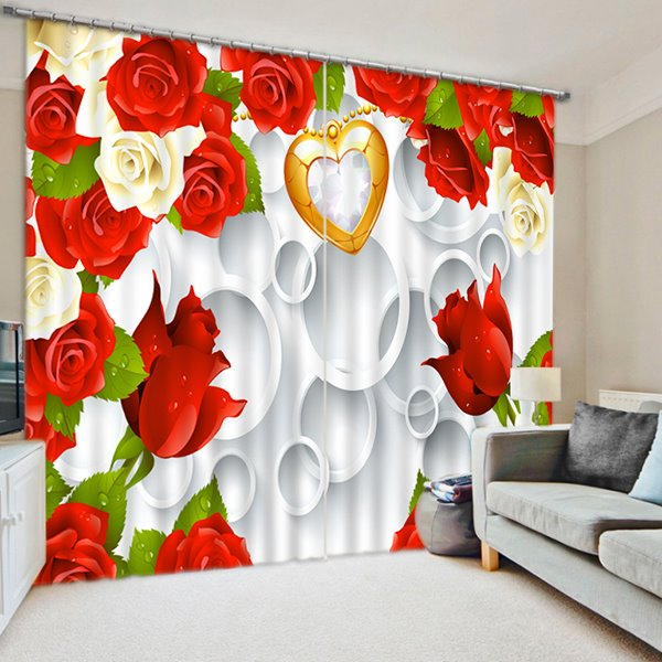 Colored Roses and Golden Heart Print 3D Blackout Curtain