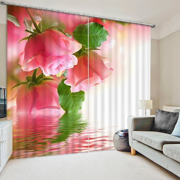 Pink Roses in Bud Print 3D Blackout Curtain