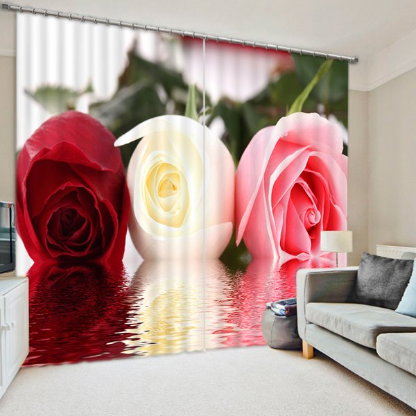 Three Different Color Roses Print 3D Blackout Curtain