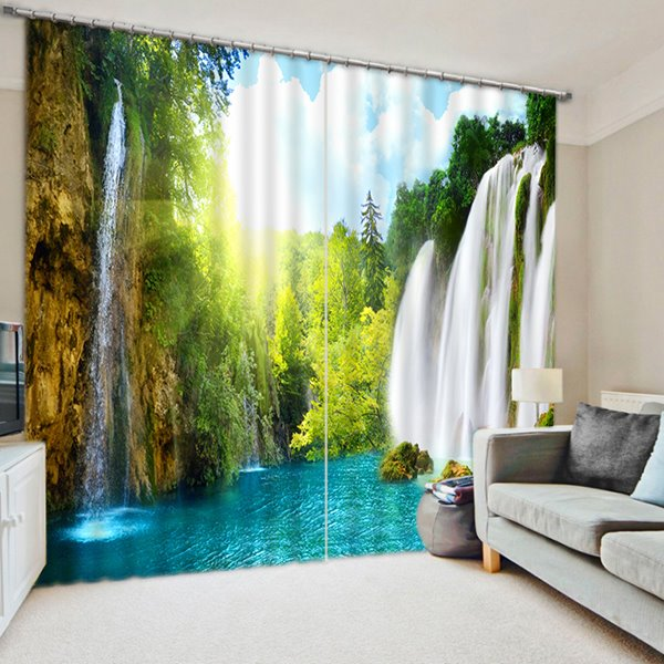 55 3D Waterfalls And Trees Spectacular Scenery Printed Custom Blackout Living  Room Curtain