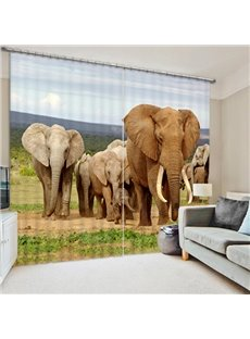 Elephants Walking in the Grasslands Print 3D Blackout Curtain